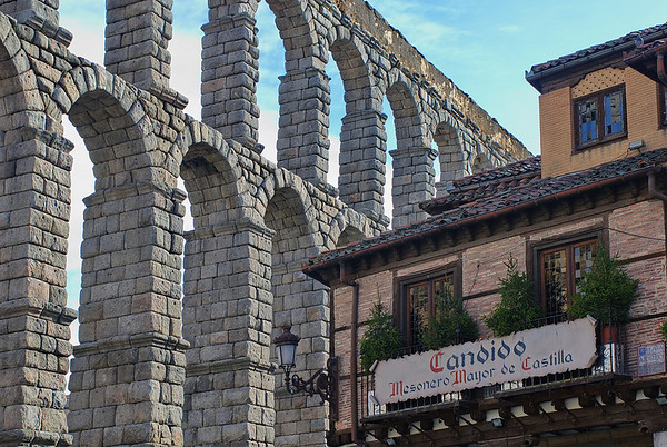"The most recognized Restaurant in Segovia. ""Mesón Candido"" is located right next to the Aqueduct."